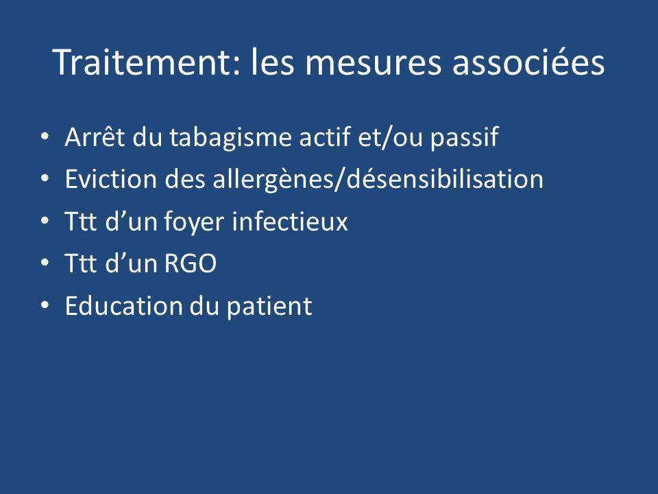 Traitement: les mesures associées Arrêt du tabagisme actif et/ou passif Eviction des allergènes/désensibilisation Ttt dun foyer infectieux Ttt dun RGO