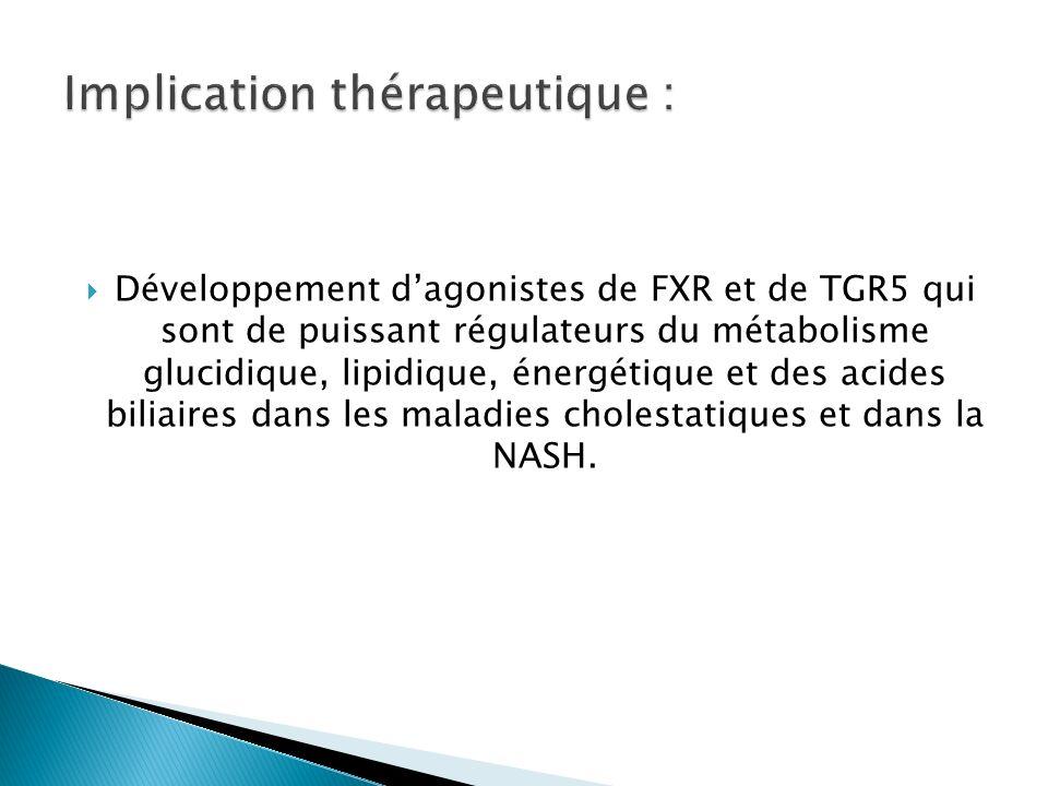 Développement dagonistes de FXR et de TGR5 qui sont de puissant régulateurs du métabolisme glucidique, lipidique, énergétique et des acides biliaires dans les maladies cholestatiques et dans la NASH.