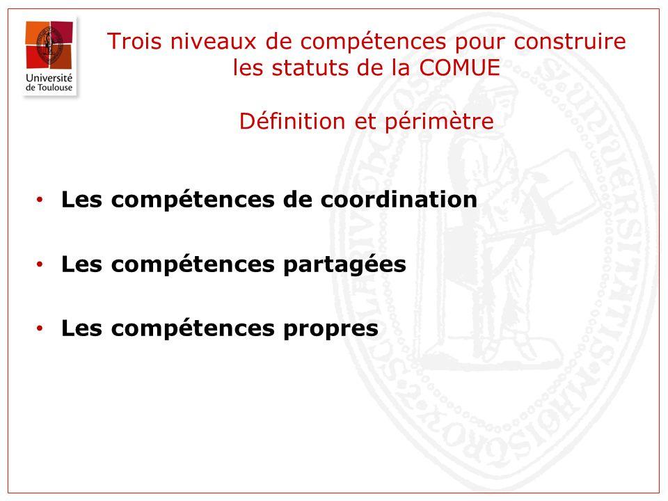 Trois niveaux de compétences pour construire les statuts de la COMUE Définition et périmètre Les compétences de coordination Les compétences partagées Les compétences propres