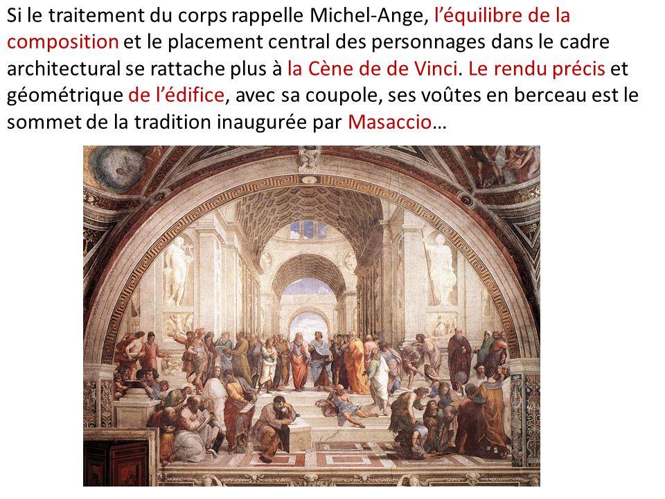 Si le traitement du corps rappelle Michel-Ange, léquilibre de la composition et le placement central des personnages dans le cadre architectural se ra
