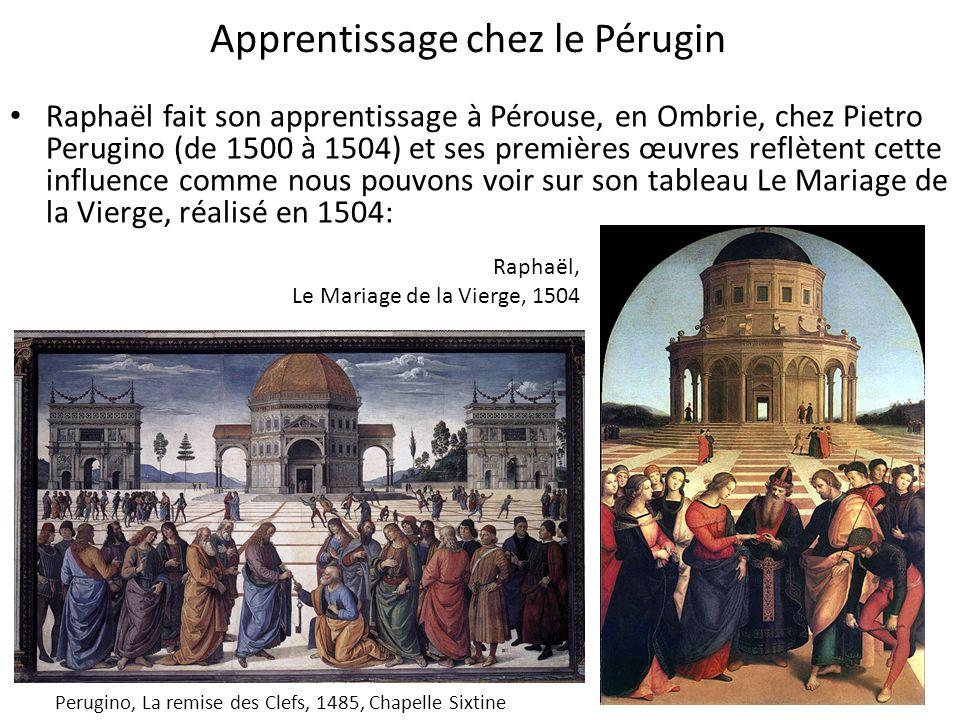 Apprentissage chez le Pérugin Raphaël fait son apprentissage à Pérouse, en Ombrie, chez Pietro Perugino (de 1500 à 1504) et ses premières œuvres reflè
