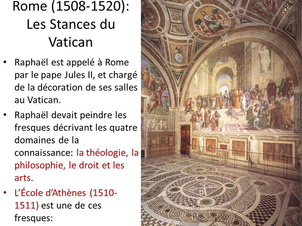 Rome (1508-1520): Les Stances du Vatican Raphaël est appelé à Rome par le pape Jules II, et chargé de la décoration de ses salles au Vatican. Raphaël