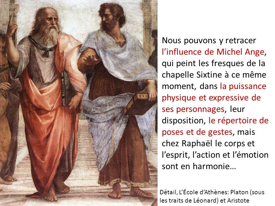 Nous pouvons y retracer linfluence de Michel Ange, qui peint les fresques de la chapelle Sixtine à ce même moment, dans la puissance physique et expre