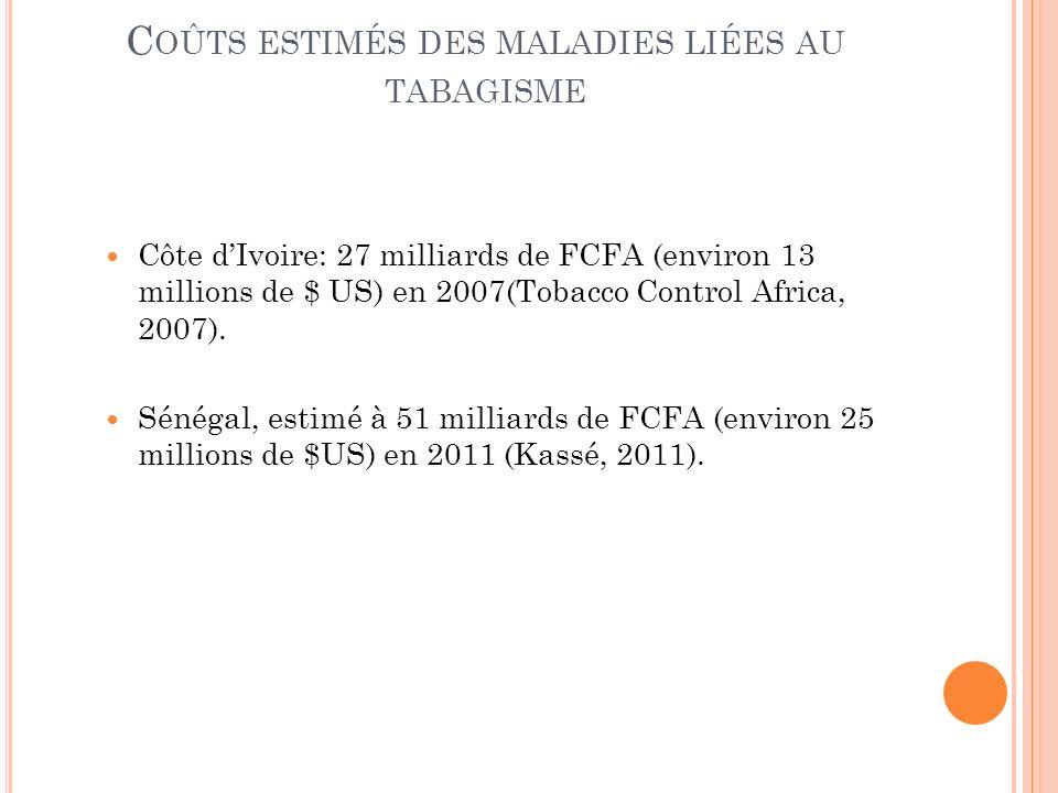 C OÛTS ESTIMÉS DES MALADIES LIÉES AU TABAGISME Côte dIvoire: 27 milliards de FCFA (environ 13 millions de $ US) en 2007(Tobacco Control Africa, 2007).