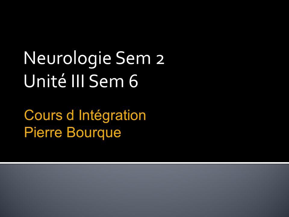 Neurologie Sem 2 Unité III Sem 6 Cours d Intégration Pierre Bourque
