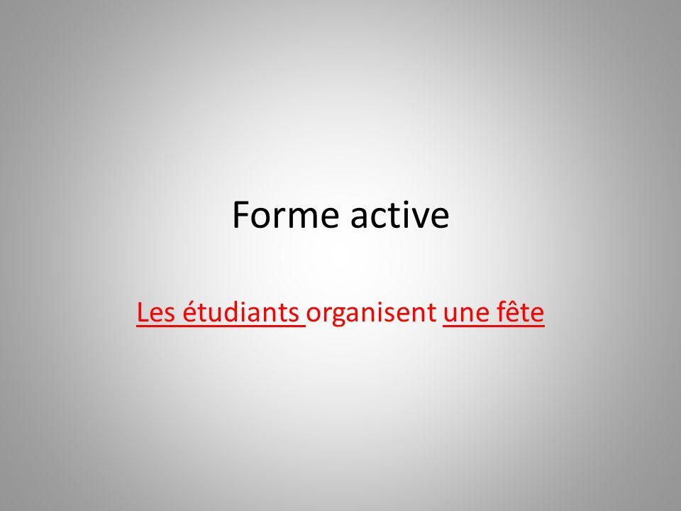 Forme passive Une fête est organisée par les étudiants