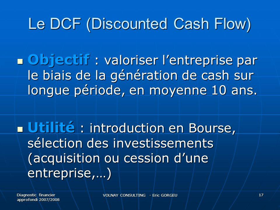 Le DCF (Discounted Cash Flow) Objectif : valoriser lentreprise par le biais de la génération de cash sur longue période, en moyenne 10 ans. Objectif :