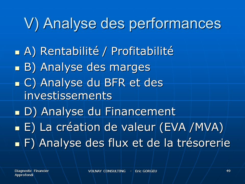 V) Analyse des performances A) Rentabilité / Profitabilité A) Rentabilité / Profitabilité B) Analyse des marges B) Analyse des marges C) Analyse du BF
