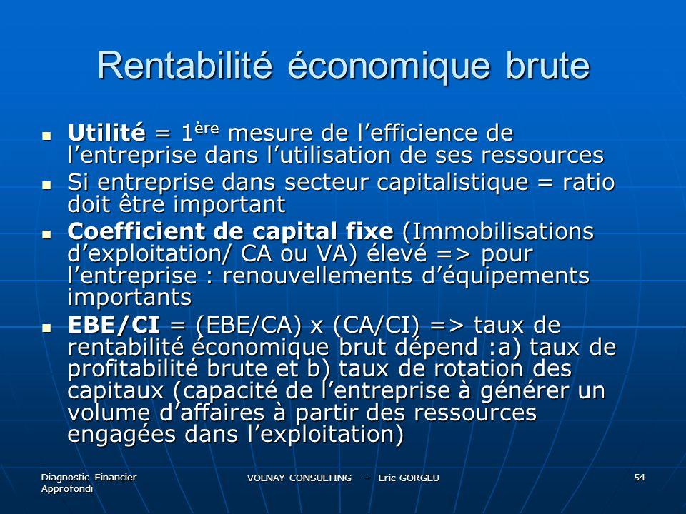 Rentabilité économique brute Utilité = 1 ère mesure de lefficience de lentreprise dans lutilisation de ses ressources Utilité = 1 ère mesure de leffic