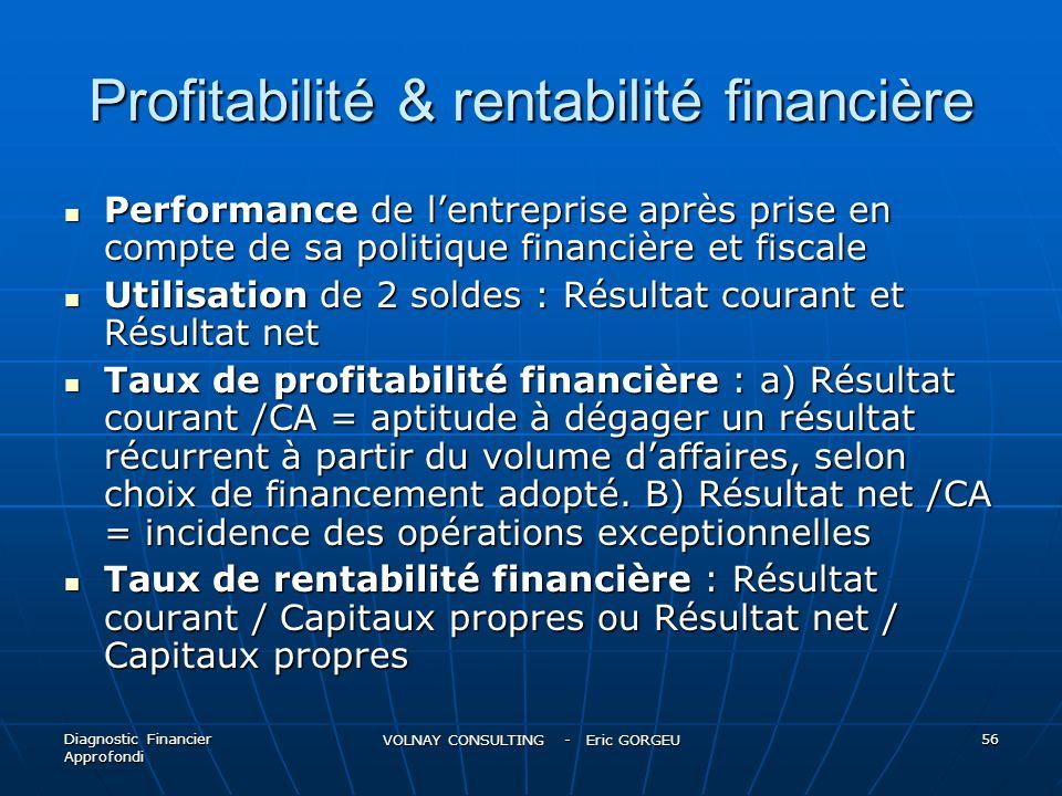 Profitabilité & rentabilité financière Performance de lentreprise après prise en compte de sa politique financière et fiscale Performance de lentrepri