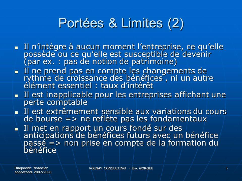 Portées & Limites (2) Il nintègre à aucun moment lentreprise, ce quelle possède ou ce quelle est susceptible de devenir (par ex. : pas de notion de pa
