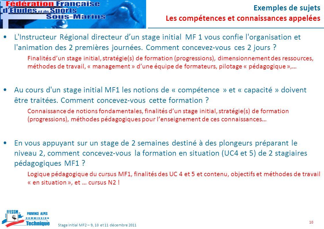 Stage initial MF2 – 9, 10 et 11 décembre 2011 Exemples de sujets Les compétences et connaissances appelées L Instructeur Régional directeur dun stage initial MF 1 vous confie l organisation et l animation des 2 premières journées.