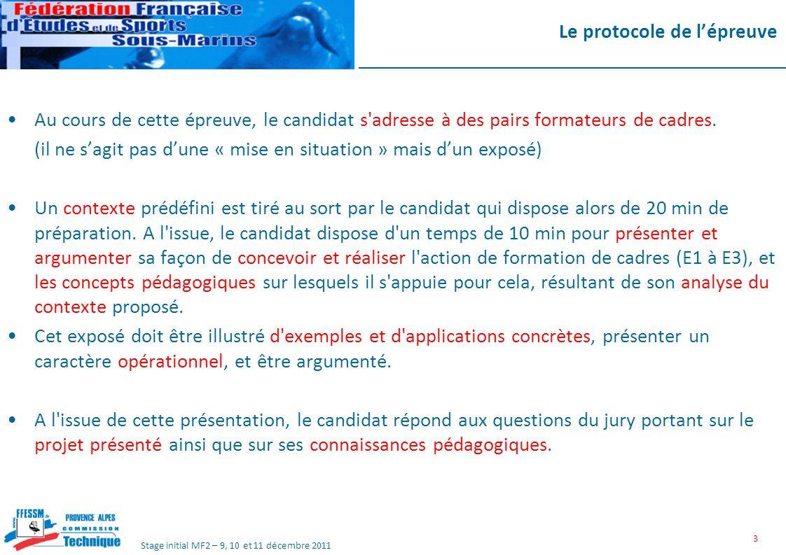 Stage initial MF2 – 9, 10 et 11 décembre 2011 Le protocole de lépreuve Au cours de cette épreuve, le candidat s adresse à des pairs formateurs de cadres.