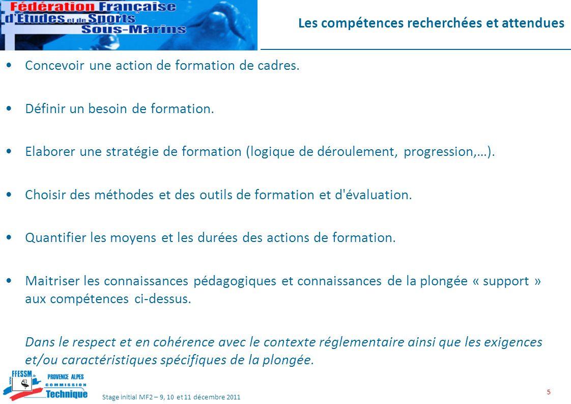 Stage initial MF2 – 9, 10 et 11 décembre 2011 Les compétences recherchées et attendues Concevoir une action de formation de cadres.