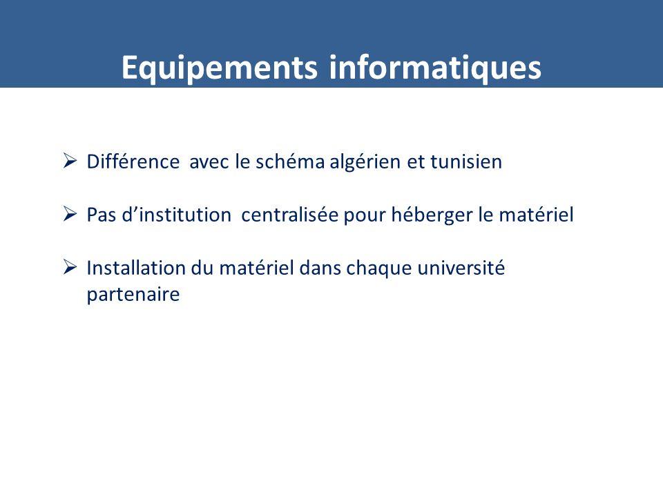 Equipements informatiques Différence avec le schéma algérien et tunisien Pas dinstitution centralisée pour héberger le matériel Installation du matériel dans chaque université partenaire