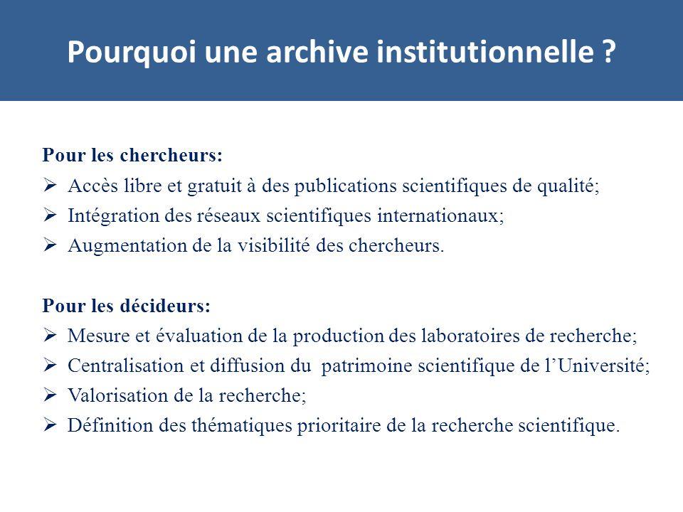 Pour les chercheurs: Accès libre et gratuit à des publications scientifiques de qualité; Intégration des réseaux scientifiques internationaux; Augmentation de la visibilité des chercheurs.