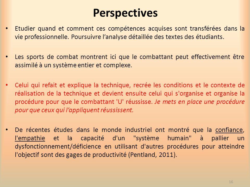 Perspectives Etudier quand et comment ces compétences acquises sont transférées dans la vie professionnelle. Poursuivre lanalyse détaillée des textes