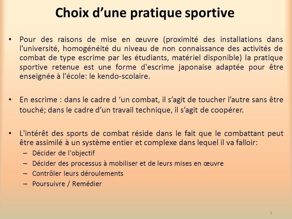 Choix dune pratique sportive Pour des raisons de mise en œuvre (proximité des installations dans l'université, homogénéité du niveau de non connaissan