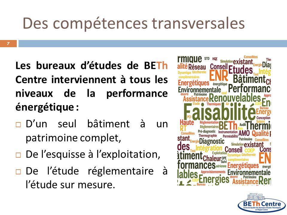 Des compétences transversales Les bureaux détudes de BETh Centre interviennent à tous les niveaux de la performance énergétique : Dun seul bâtiment à