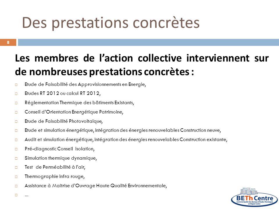 Des prestations concrètes Les membres de laction collective interviennent sur de nombreuses prestations concrètes : Etude de Faisabilité des Approvisi