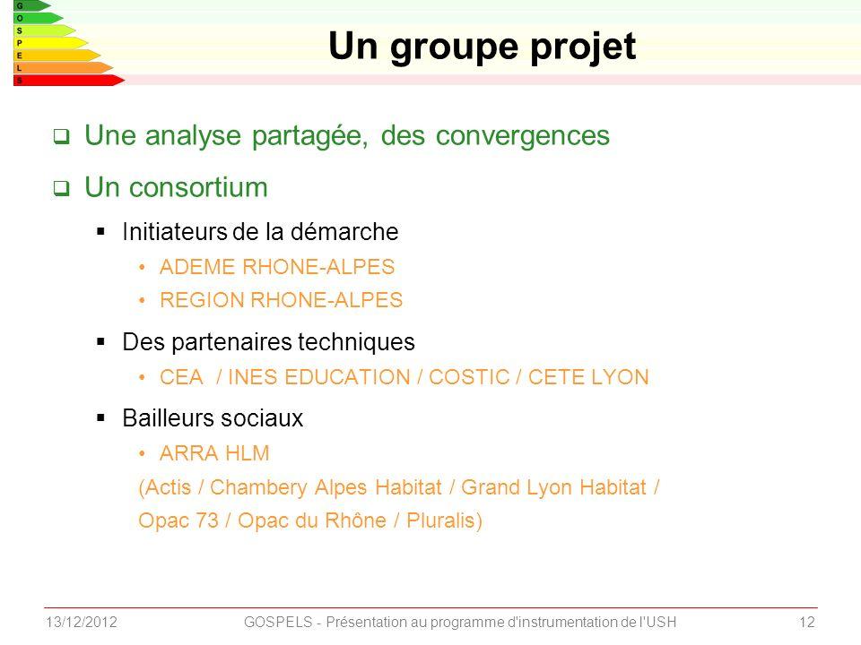 Une analyse partagée, des convergences Un consortium Initiateurs de la démarche ADEME RHONE-ALPES REGION RHONE-ALPES Des partenaires techniques CEA / INES EDUCATION / COSTIC / CETE LYON Bailleurs sociaux ARRA HLM (Actis / Chambery Alpes Habitat / Grand Lyon Habitat / Opac 73 / Opac du Rhône / Pluralis) Un groupe projet 1213/12/2012GOSPELS - Présentation au programme d instrumentation de l USH