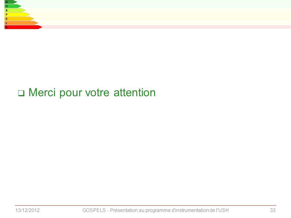 Merci pour votre attention 3313/12/2012GOSPELS - Présentation au programme d instrumentation de l USH