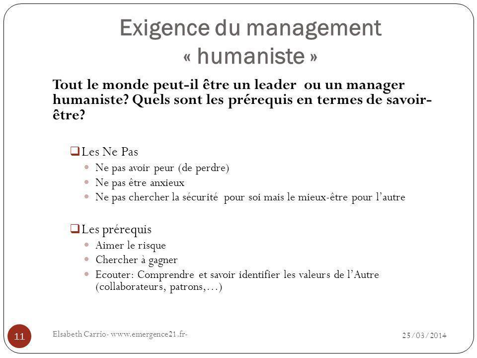 Exigence du management « humaniste » 25/03/2014 Elsabeth Carrio- www.emergence21.fr- 11 Tout le monde peut-il être un leader ou un manager humaniste.