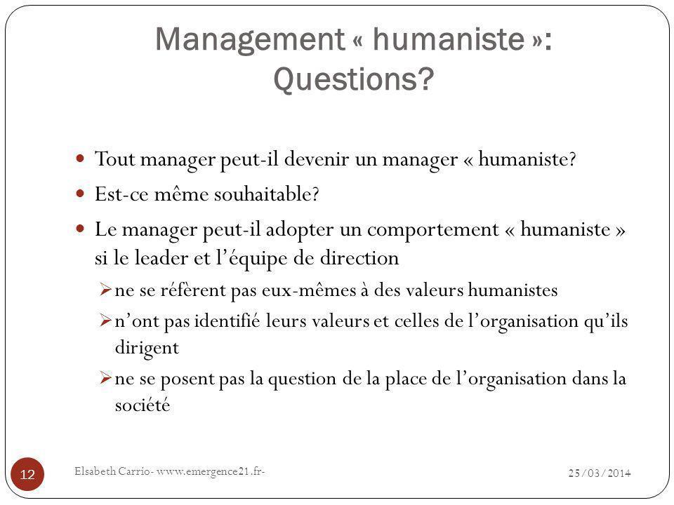 Management « humaniste »: Questions.