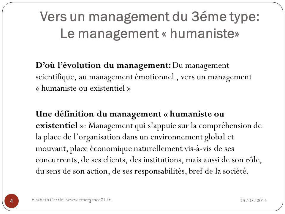 Vers un management du 3éme type: Le management « humaniste» 25/03/2014 Elsabeth Carrio- www.emergence21.fr- 4 Doù lévolution du management: Du managem