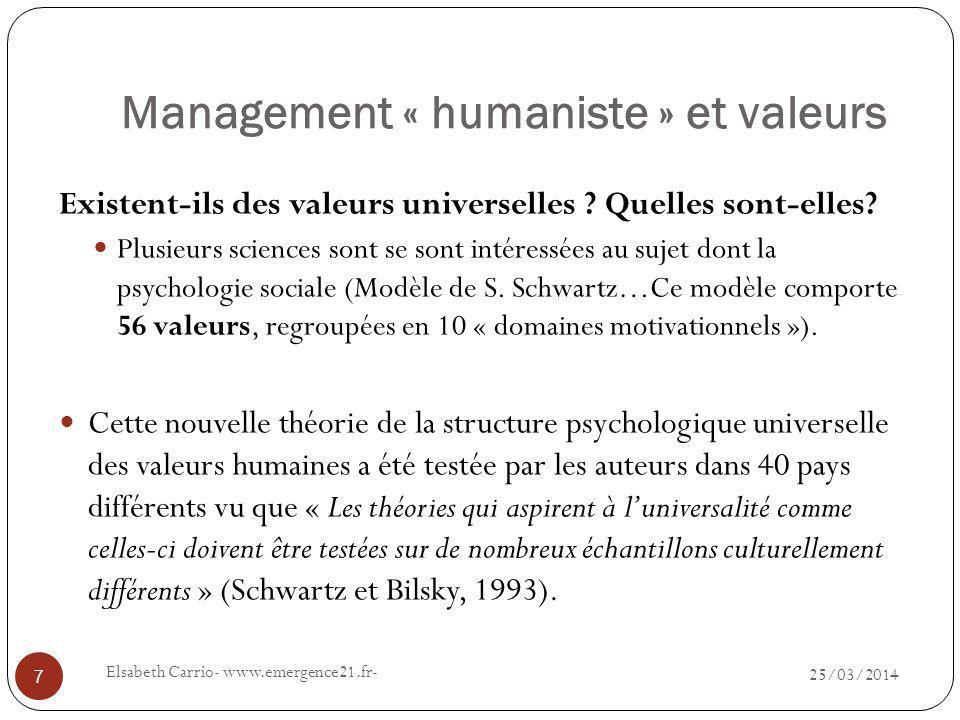 Management « humaniste » et valeurs 25/03/2014 Elsabeth Carrio- www.emergence21.fr- 7 Existent-ils des valeurs universelles .