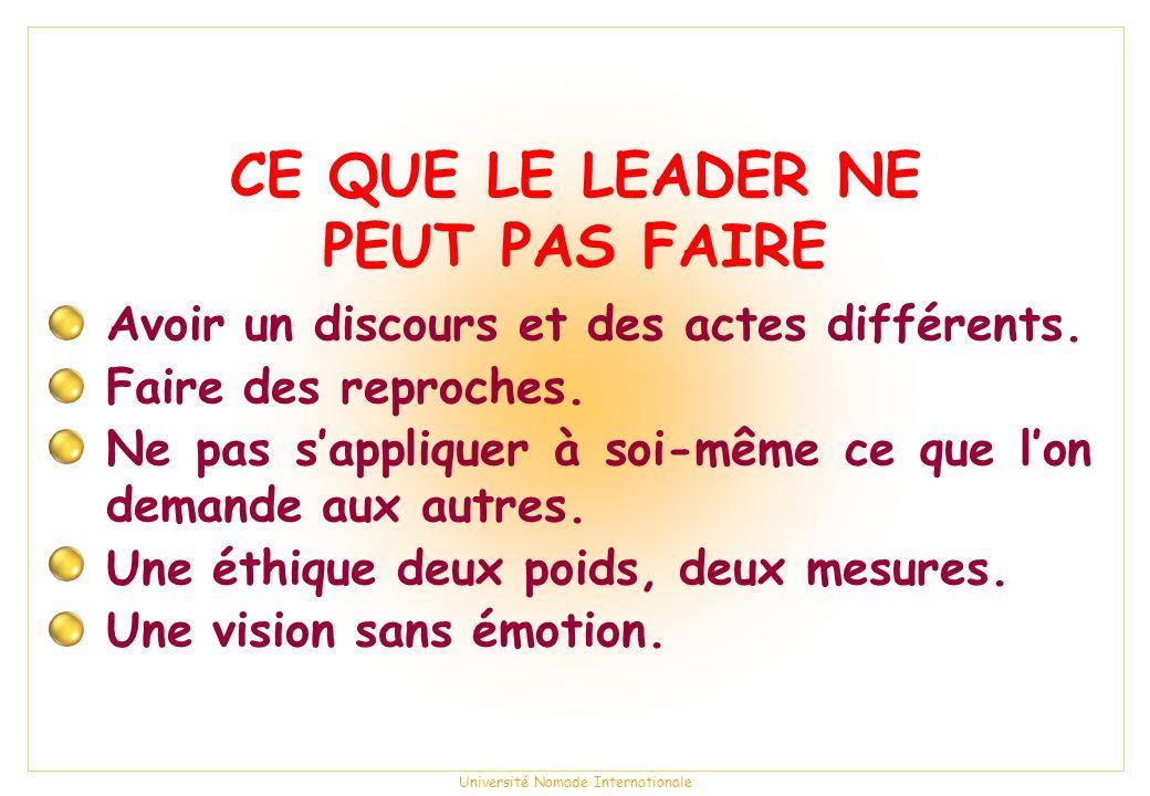 Université Nomade Internationale CE QUE LE LEADER NE PEUT PAS FAIRE Avoir un discours et des actes différents.