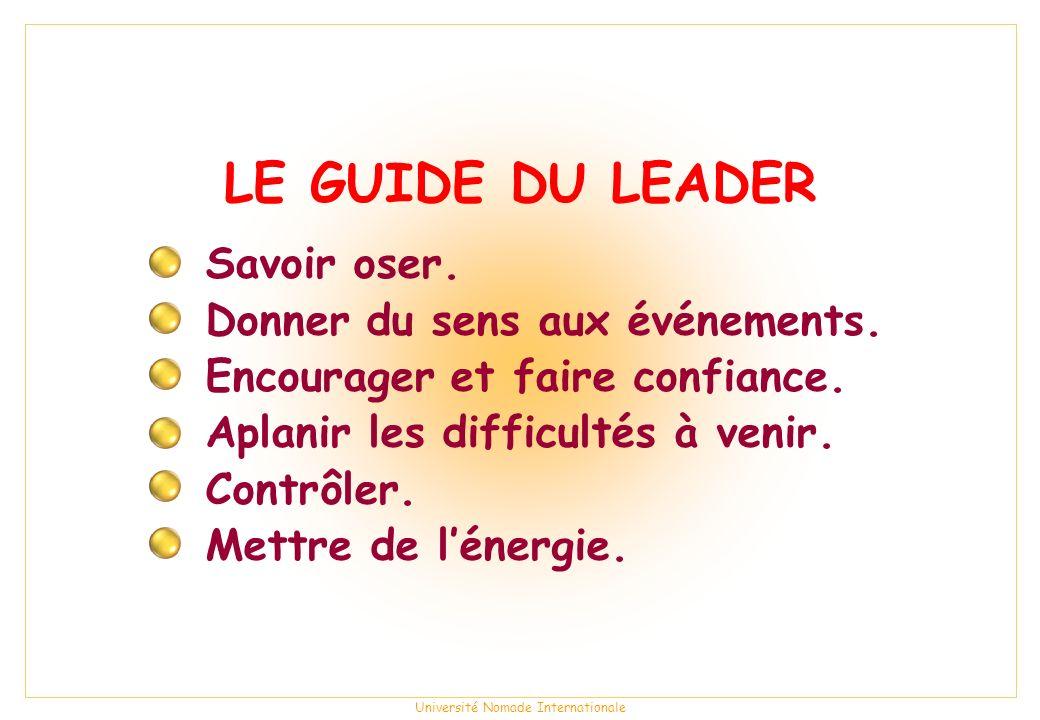 Université Nomade Internationale LE GUIDE DU LEADER Savoir oser.
