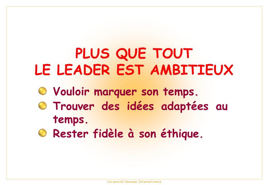 Université Nomade Internationale PLUS QUE TOUT LE LEADER EST AMBITIEUX Vouloir marquer son temps.
