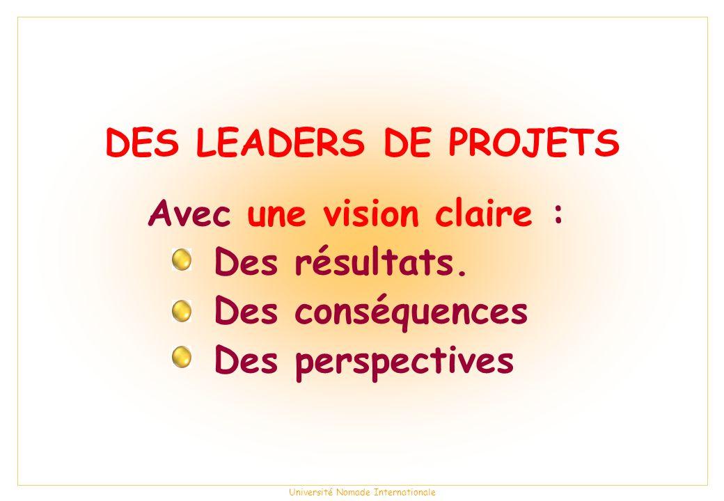 Université Nomade Internationale DES LEADERS DE PROJETS Avec une vision claire : Des résultats.
