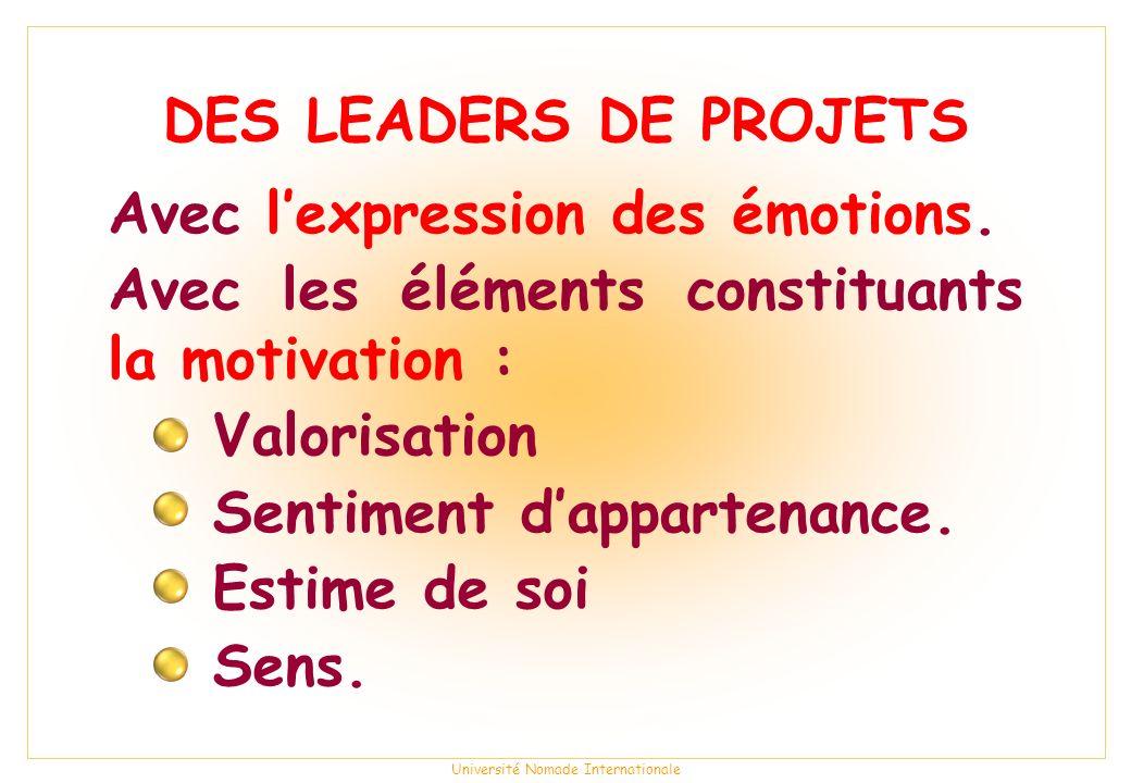 Université Nomade Internationale DES LEADERS DE PROJETS Avec lexpression des émotions.