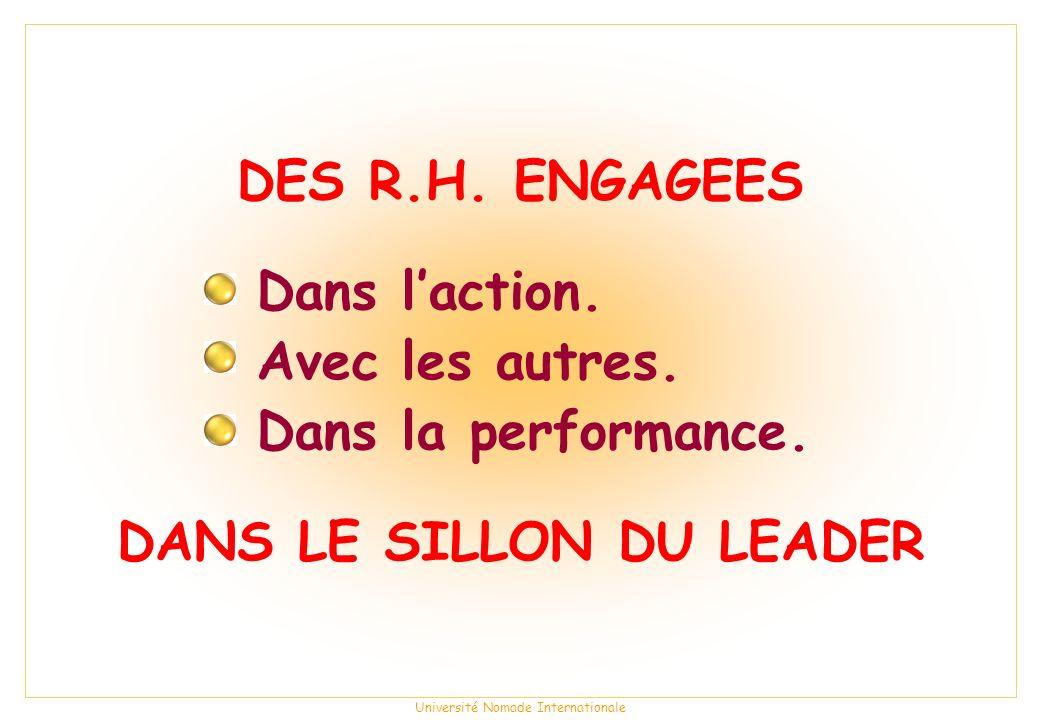 Université Nomade Internationale DES R.H.ENGAGEES DANS LE SILLON DU LEADER Dans laction.