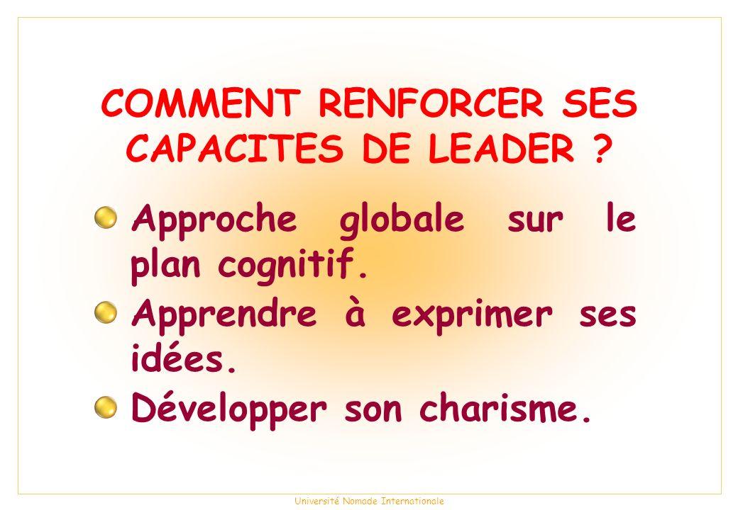 Université Nomade Internationale COMMENT RENFORCER SES CAPACITES DE LEADER .