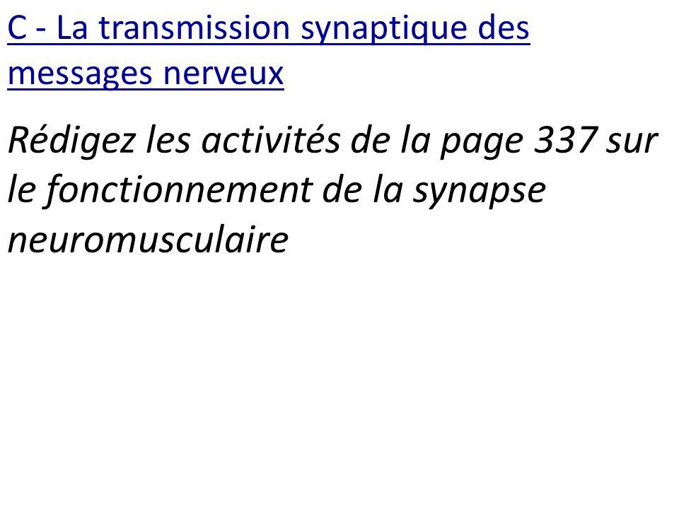 C - La transmission synaptique des messages nerveux Rédigez les activités de la page 337 sur le fonctionnement de la synapse neuromusculaire