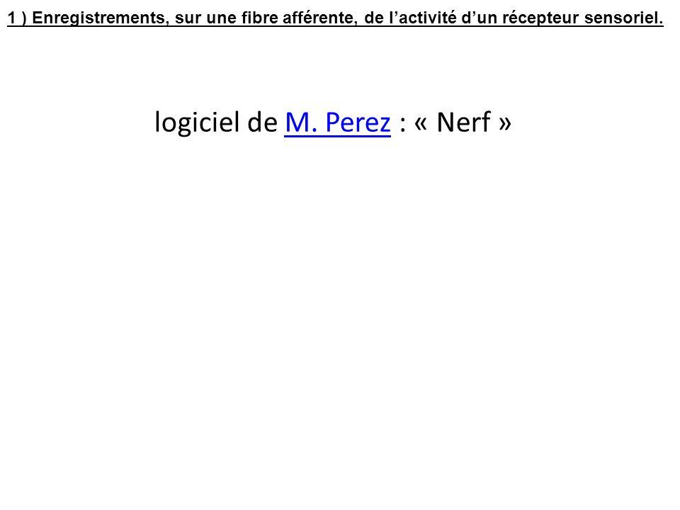 logiciel de M. Perez : « Nerf » 1 ) Enregistrements, sur une fibre afférente, de lactivité dun récepteur sensoriel.