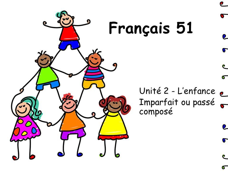Français 51 Unité 2 - Lenfance Imparfait ou passé composé