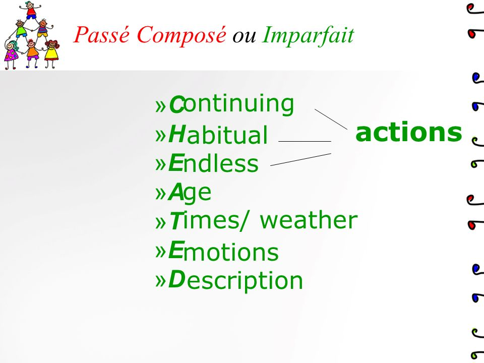 Passé Composé ou Imparfait »S»S »C»C »A»A »B»B ingle ompleted ctions eginning and End