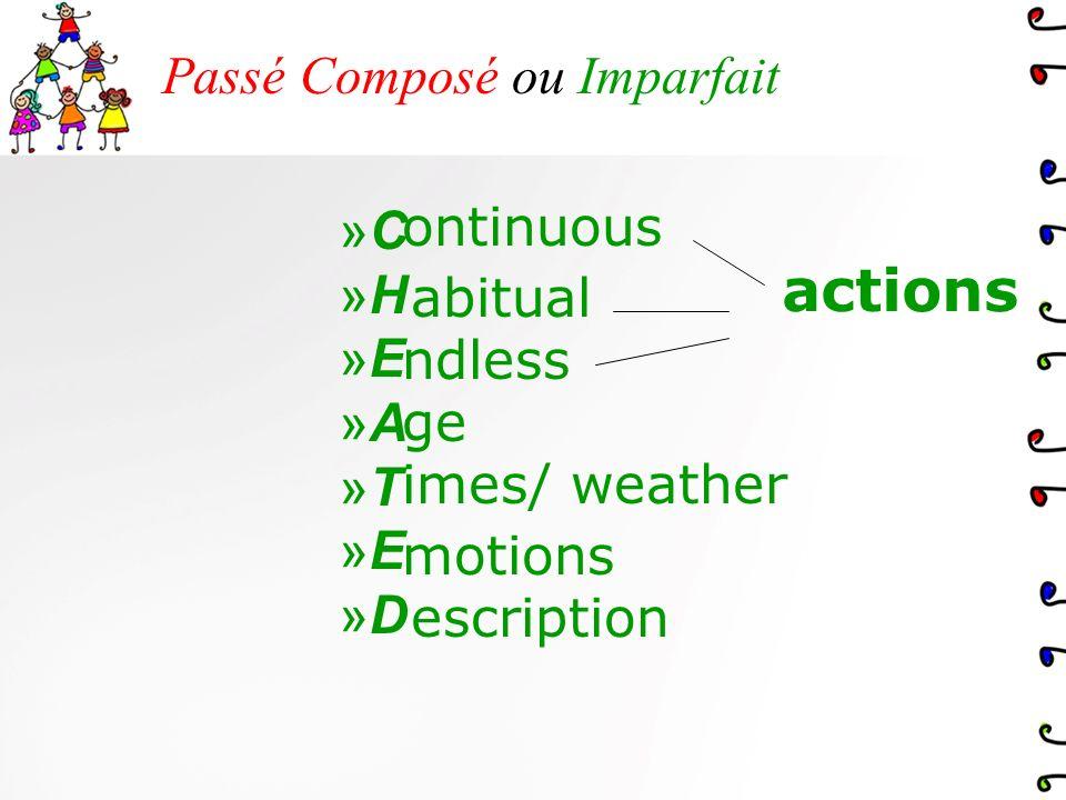Passé Composé ou Imparfait »C»C »H»H »E»E »A»A »T»T »E»E »D»D ontinuous ndless imes/ weather escription abitual ge motions actions