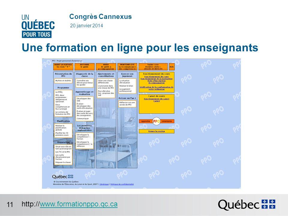 Congrès Cannexus Une formation en ligne pour les enseignants 20 janvier 2014 http://www.formationppo.qc.cawww.formationppo.qc.ca 11