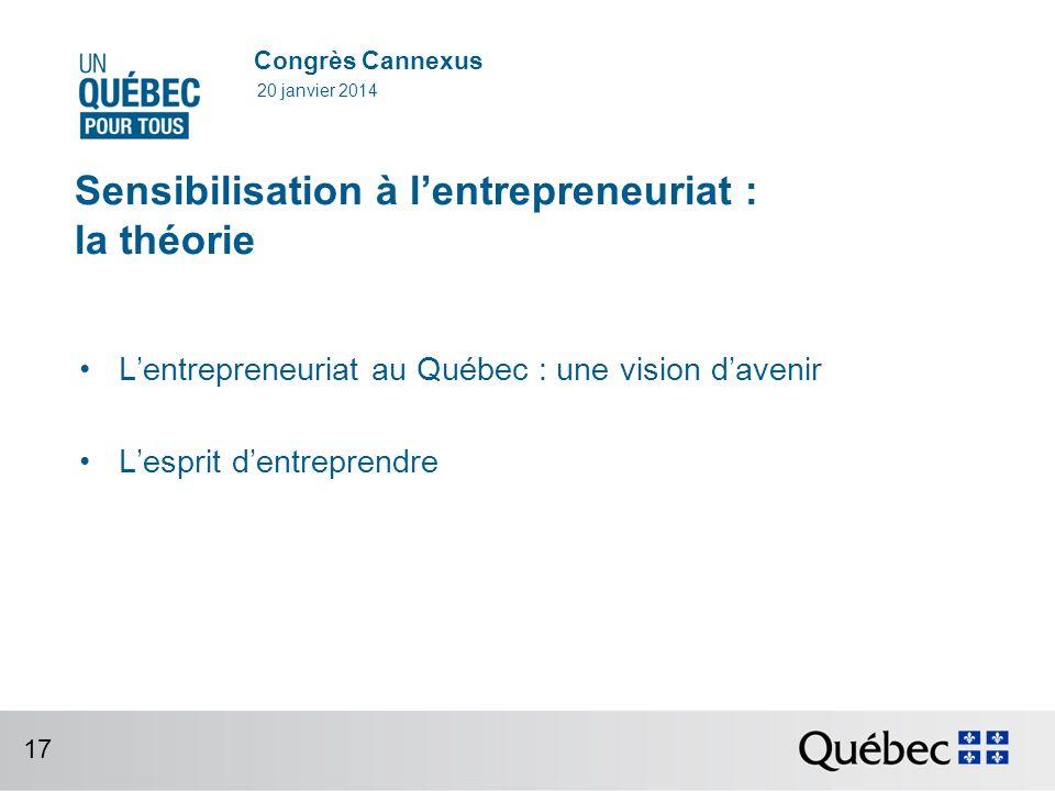 Congrès Cannexus Sensibilisation à lentrepreneuriat : la théorie Lentrepreneuriat au Québec : une vision davenir Lesprit dentreprendre 20 janvier 2014 17