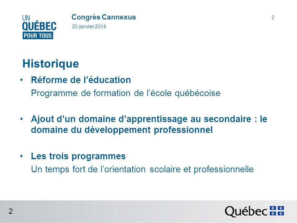 Congrès Cannexus Les domaines dapprentissage 20 janvier 2014 3