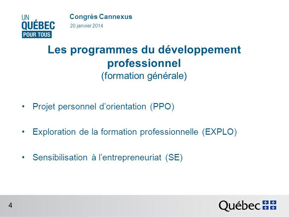 Congrès Cannexus Les programmes du développement professionnel (formation générale) Projet personnel dorientation (PPO) Exploration de la formation professionnelle (EXPLO) Sensibilisation à lentrepreneuriat (SE) 20 janvier 2014 4