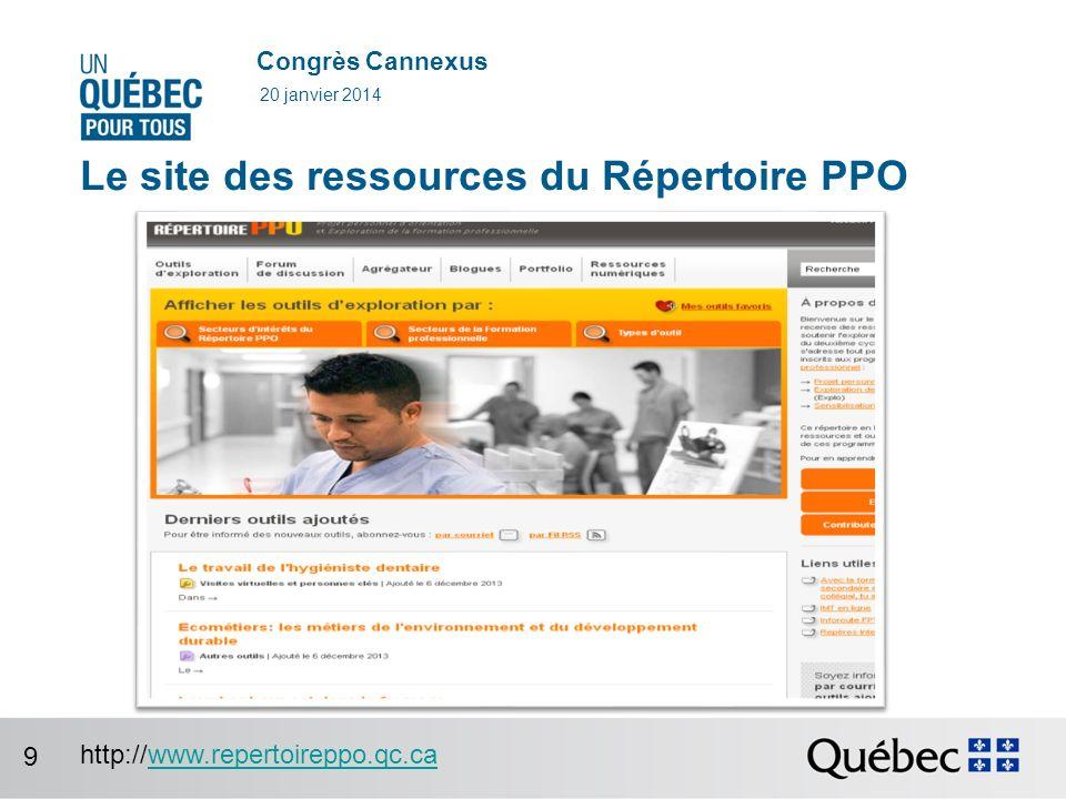 Congrès Cannexus Le site des ressources du Répertoire PPO 20 janvier 2014 http://www.repertoireppo.qc.cawww.repertoireppo.qc.ca 9