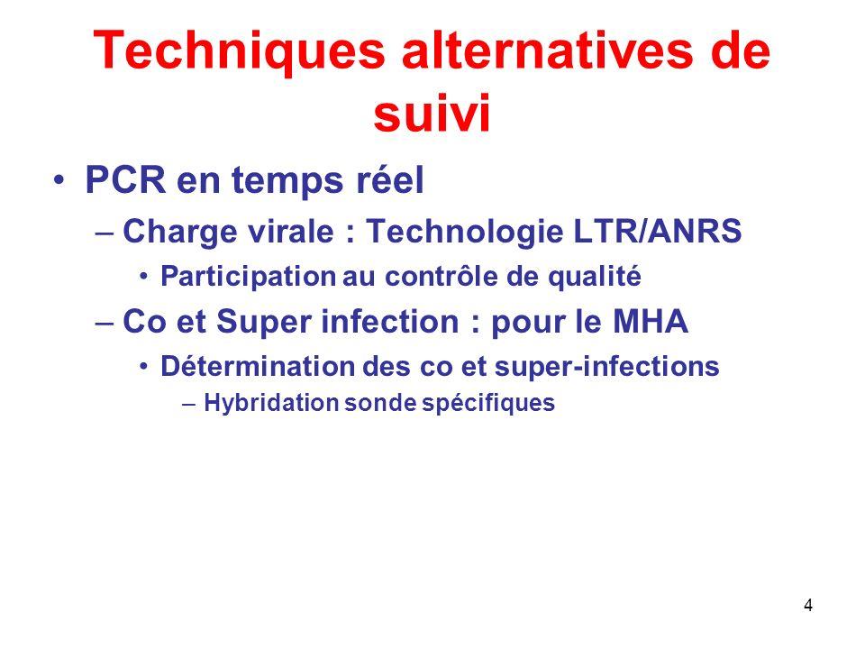 4 Techniques alternatives de suivi PCR en temps réel –Charge virale : Technologie LTR/ANRS Participation au contrôle de qualité –Co et Super infection : pour le MHA Détermination des co et super-infections –Hybridation sonde spécifiques