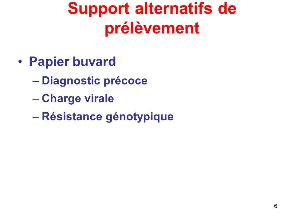6 Support alternatifs de prélèvement Papier buvard –Diagnostic précoce –Charge virale –Résistance génotypique