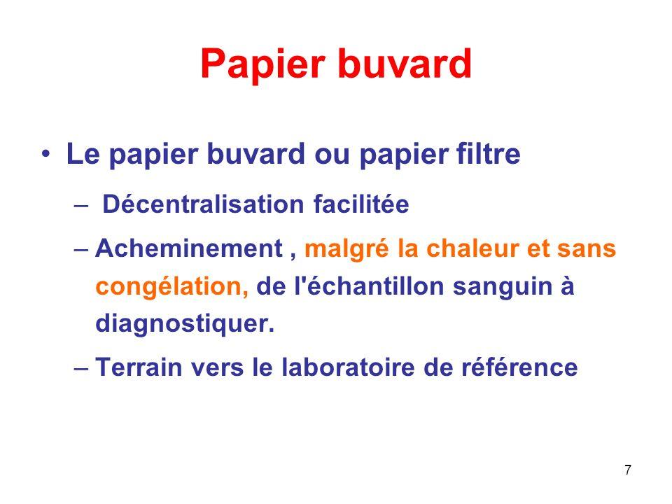 7 Papier buvard Le papier buvard ou papier filtre – Décentralisation facilitée –Acheminement, malgré la chaleur et sans congélation, de l échantillon sanguin à diagnostiquer.